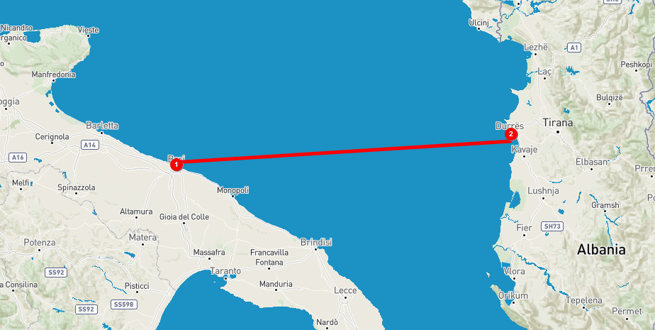 Bari to Durres ferry boat getting to Albania