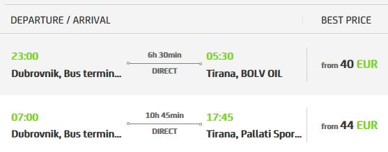 Bus Dubrovnik to Tirana getting to Albania