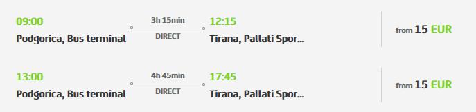 Podgorica to Tirana getting to Albania
