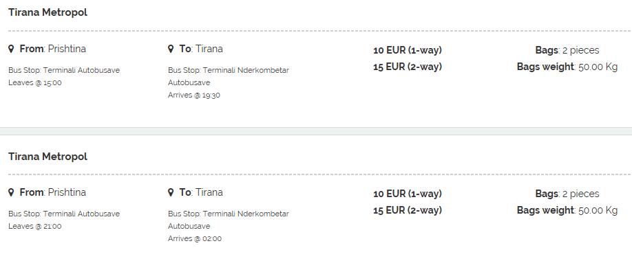 Prishtina to Tirana getting to Albania