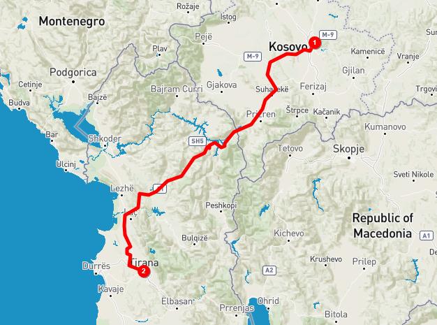 Pristina to Tirana getting to Albania