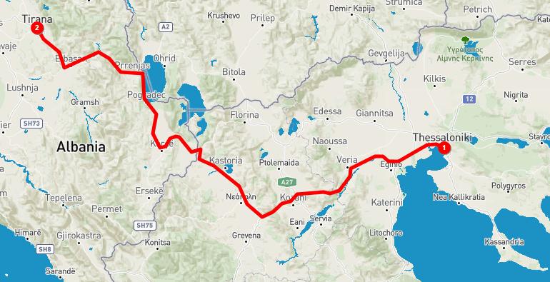 Thessaloniki to Tirana getting to Albania